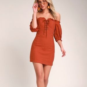 LULUS SEE YA LATER OFF THE SHOULDER LACE UP DRESS
